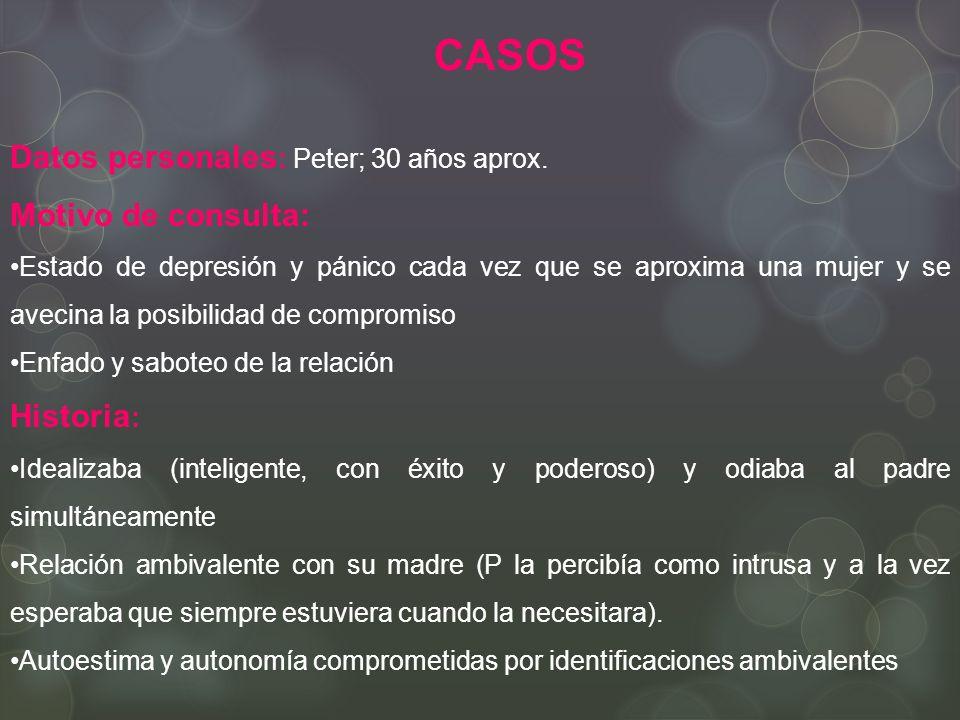 CASOS Datos personales: Peter; 30 años aprox. Motivo de consulta: