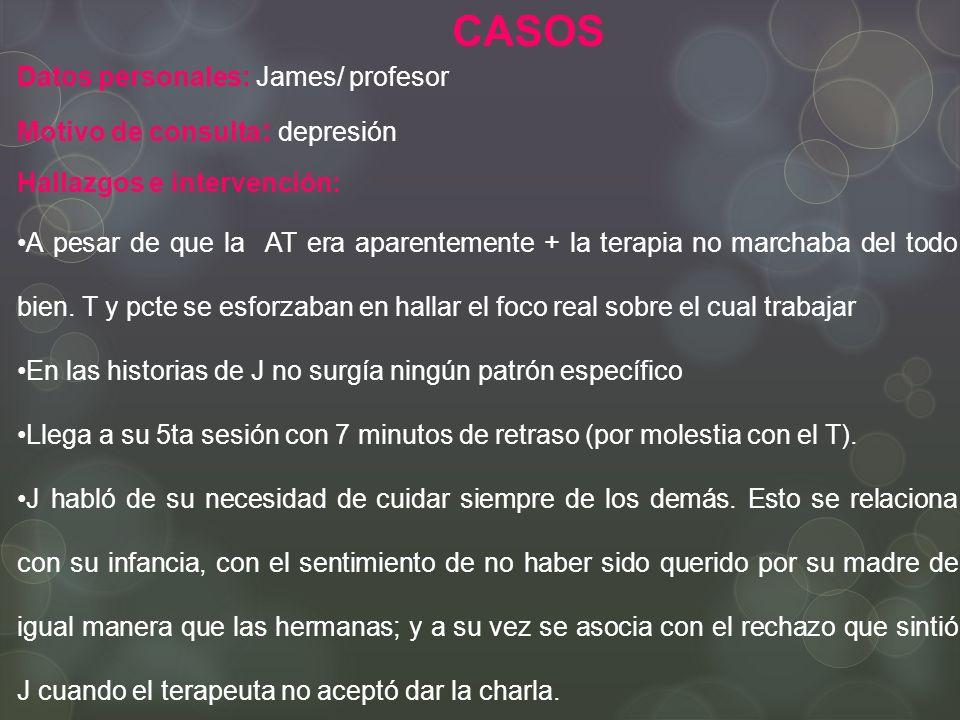 CASOS Datos personales: James/ profesor Motivo de consulta: depresión
