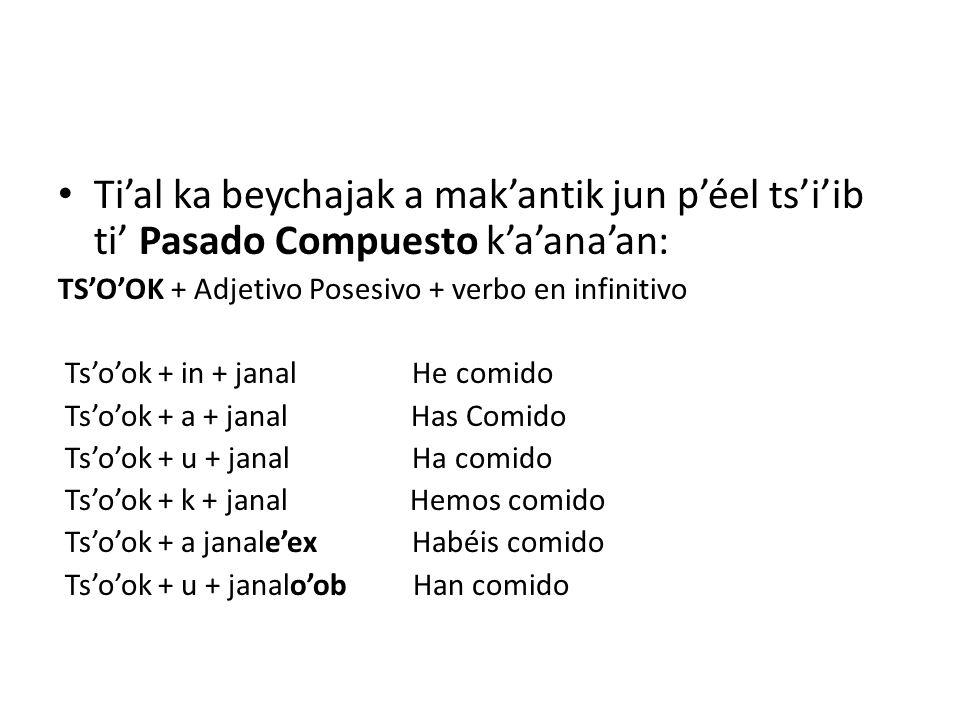 Ti'al ka beychajak a mak'antik jun p'éel ts'i'ib ti' Pasado Compuesto k'a'ana'an: