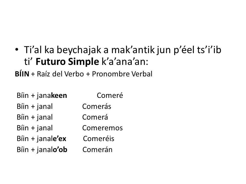 Ti'al ka beychajak a mak'antik jun p'éel ts'i'ib ti' Futuro Simple k'a'ana'an: