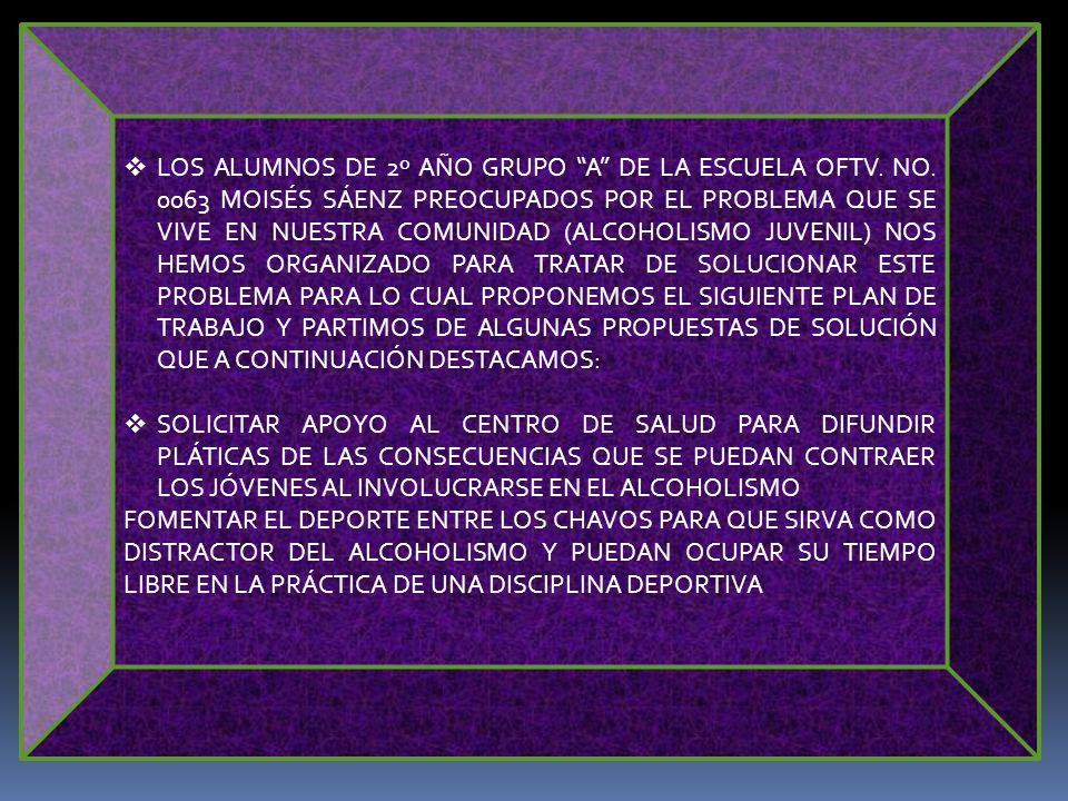 LOS ALUMNOS DE 2º AÑO GRUPO A DE LA ESCUELA OFTV. NO