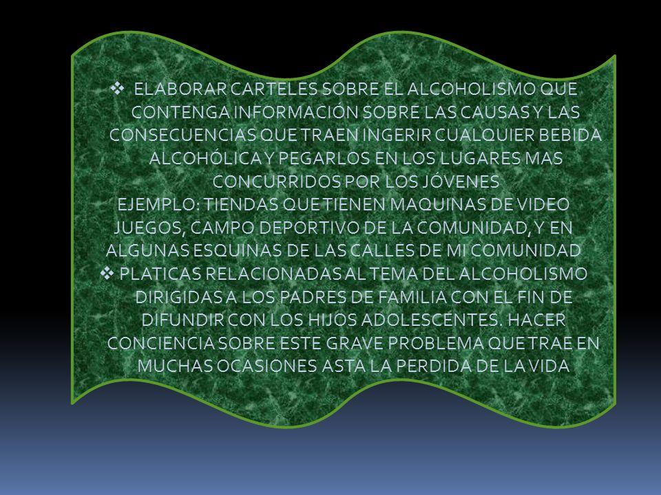 ELABORAR CARTELES SOBRE EL ALCOHOLISMO QUE CONTENGA INFORMACIÓN SOBRE LAS CAUSAS Y LAS CONSECUENCIAS QUE TRAEN INGERIR CUALQUIER BEBIDA ALCOHÓLICA Y PEGARLOS EN LOS LUGARES MAS CONCURRIDOS POR LOS JÓVENES