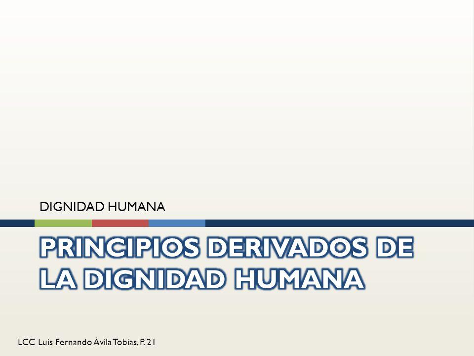 PRINCIPIOS DERIVADOS DE LA DIGNIDAD HUMANA