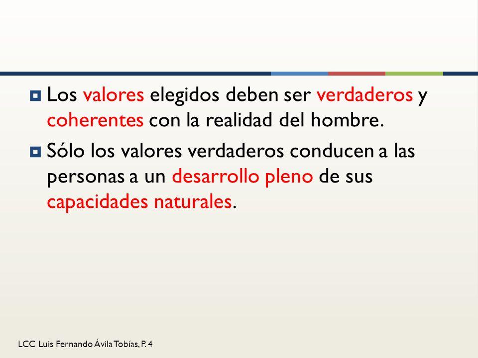 Los valores elegidos deben ser verdaderos y coherentes con la realidad del hombre.