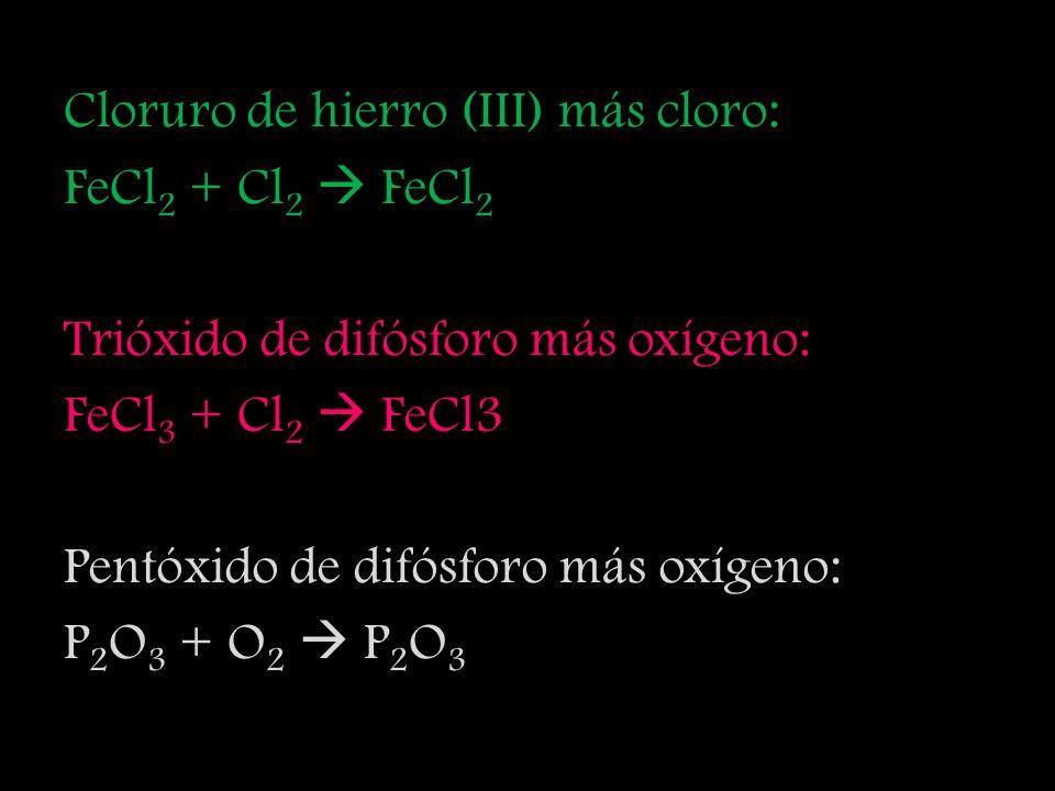 Cloruro de hierro (III) más cloro: