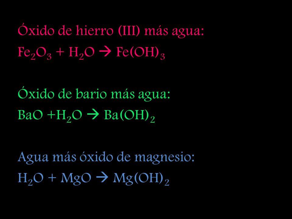 Óxido de hierro (III) más agua: