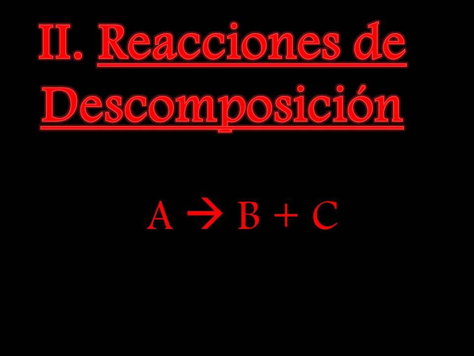 II. Reacciones de Descomposición