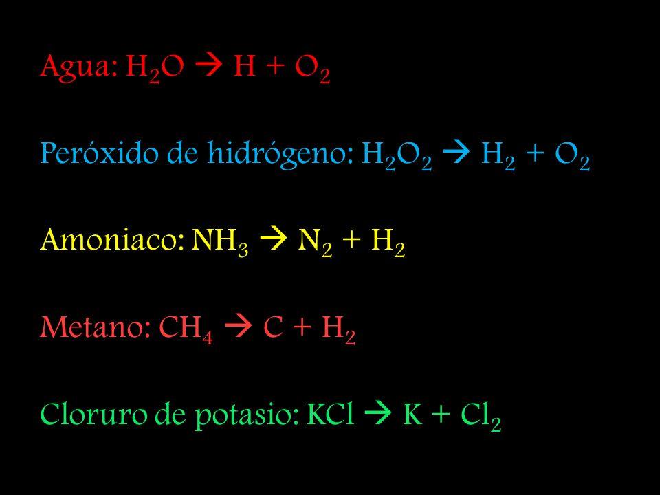 Agua: H2O  H + O2 Peróxido de hidrógeno: H2O2  H2 + O2. Amoniaco: NH3  N2 + H2. Metano: CH4  C + H2.
