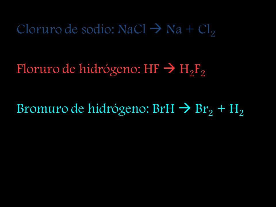 Cloruro de sodio: NaCl  Na + Cl2
