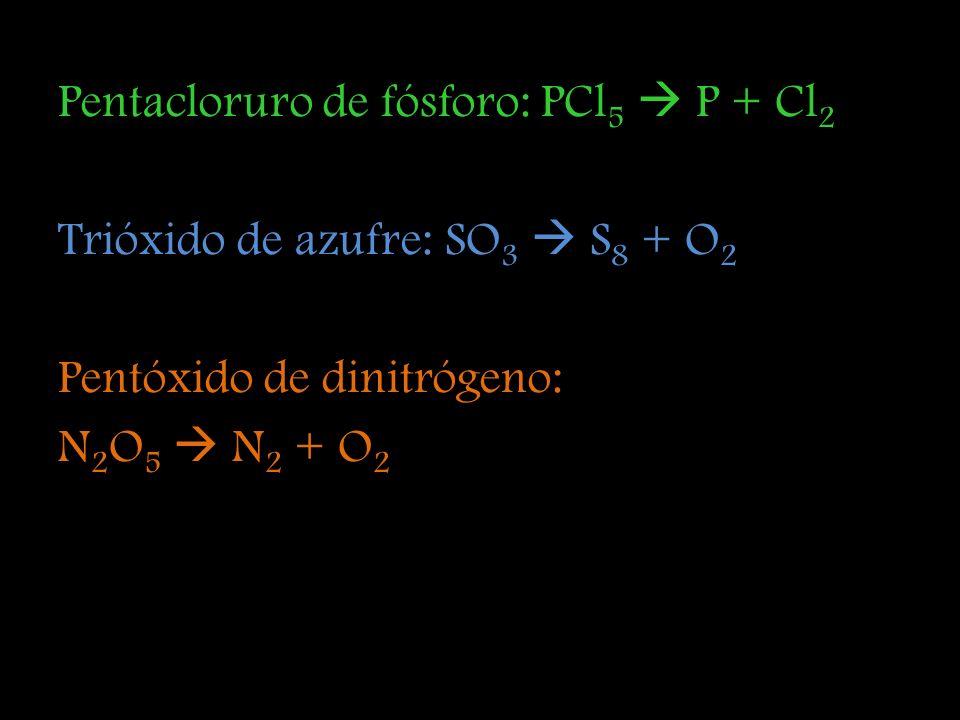 Pentacloruro de fósforo: PCl5  P + Cl2