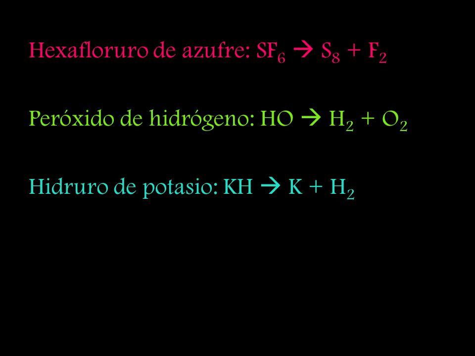 Hexafloruro de azufre: SF6  S8 + F2