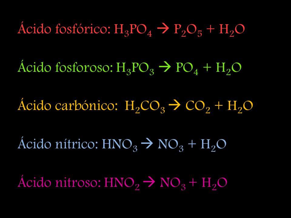 Ácido fosfórico: H3PO4  P2O5 + H2O