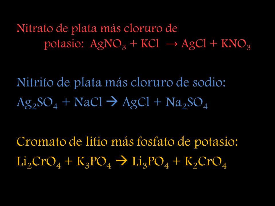 Nitrito de plata más cloruro de sodio: Ag2SO4 + NaCl  AgCl + Na2SO4
