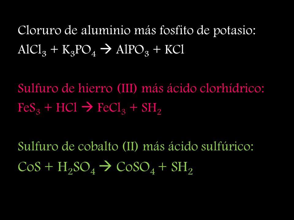 CoS + H2SO4  CoSO4 + SH2 Cloruro de aluminio más fosfito de potasio: