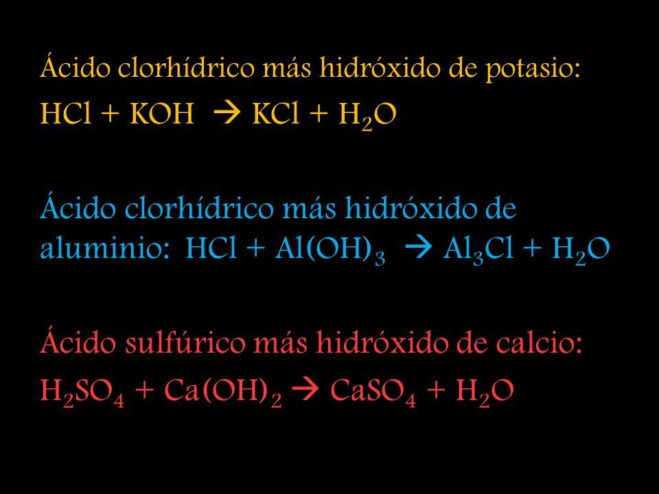 Ácido sulfúrico más hidróxido de calcio: H2SO4 + Ca(OH)2  CaSO4 + H2O