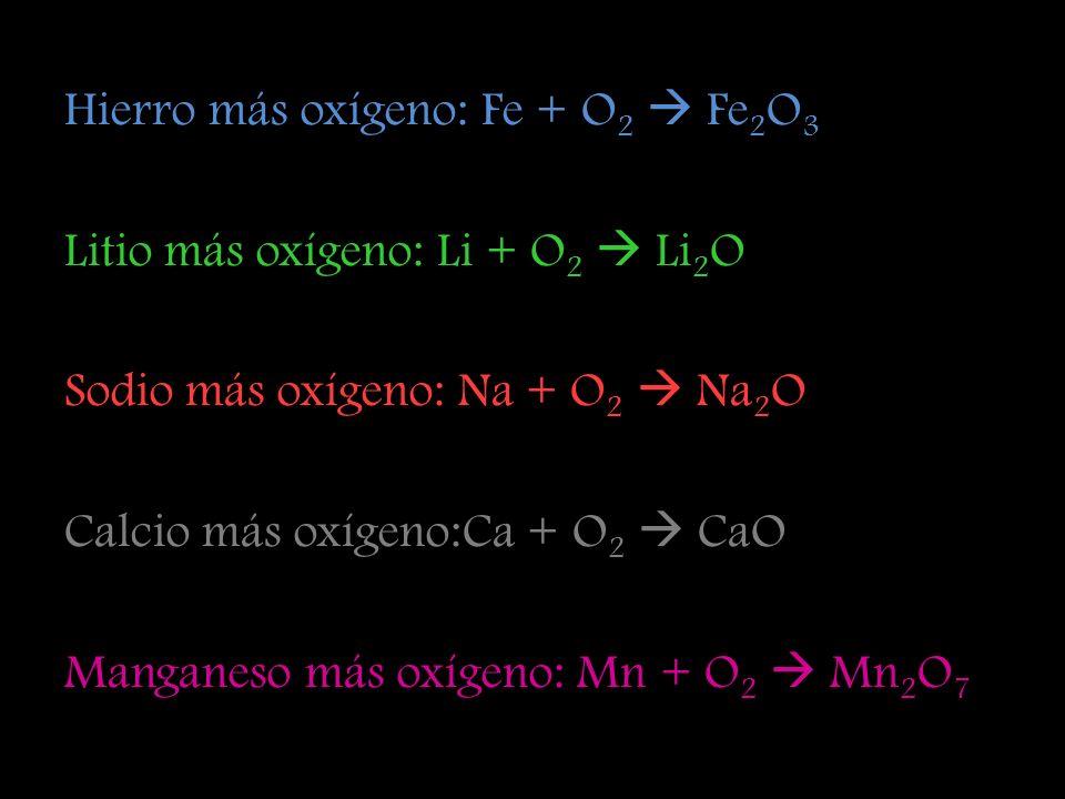 Hierro más oxígeno: Fe + O2  Fe2O3 Litio más oxígeno: Li + O2  Li2O Sodio más oxígeno: Na + O2  Na2O Calcio más oxígeno:Ca + O2  CaO Manganeso más oxígeno: Mn + O2  Mn2O7