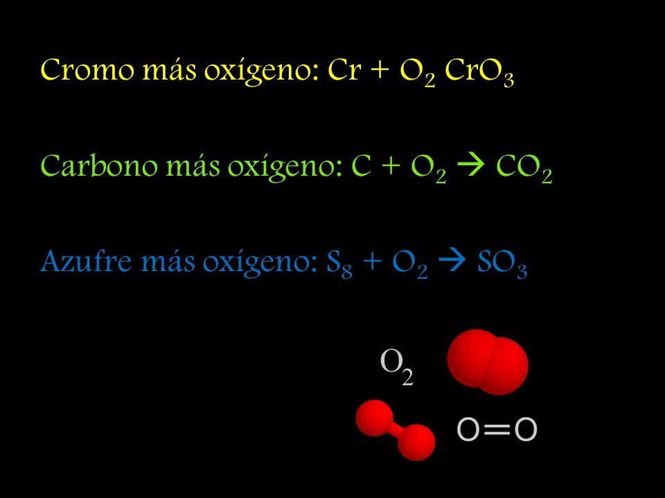 Cromo más oxígeno: Cr + O2 CrO3 Carbono más oxígeno: C + O2  CO2 Azufre más oxígeno: S8 + O2  SO3
