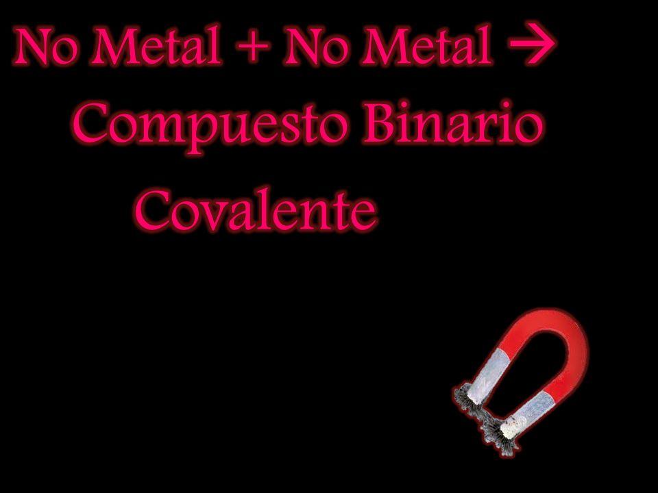 No Metal + No Metal  Compuesto Binario Covalente