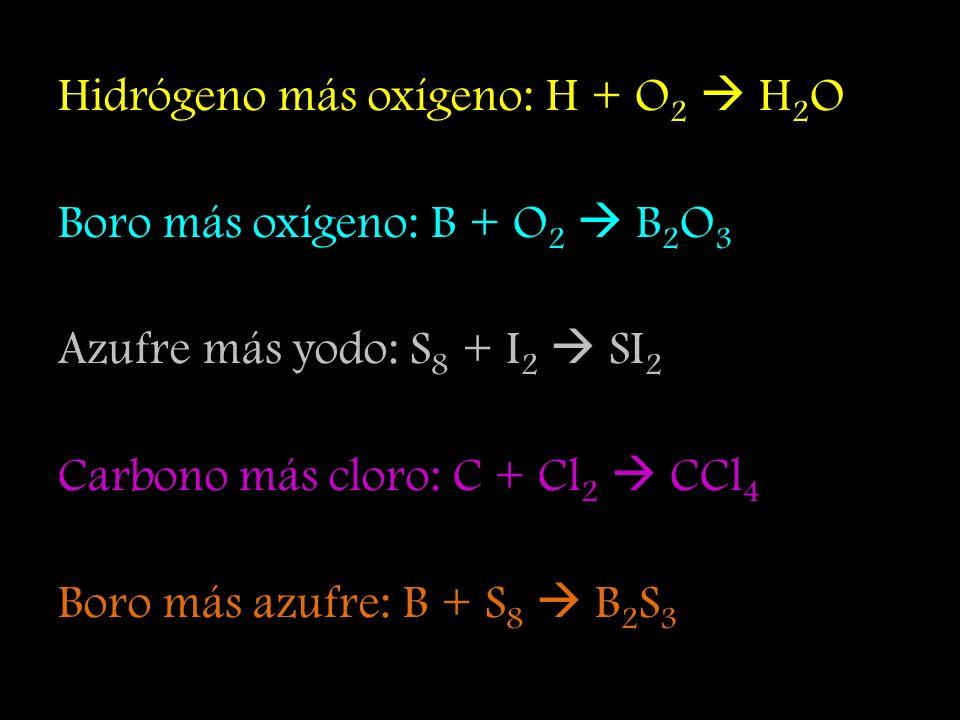 Hidrógeno más oxígeno: H + O2  H2O