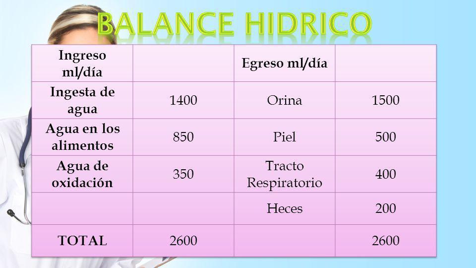 BALANCE HIDRICO Ingreso ml/día Egreso ml/día Ingesta de agua 1400
