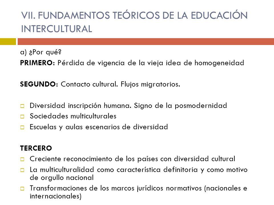 VII. FUNDAMENTOS TEÓRICOS DE LA EDUCACIÓN INTERCULTURAL