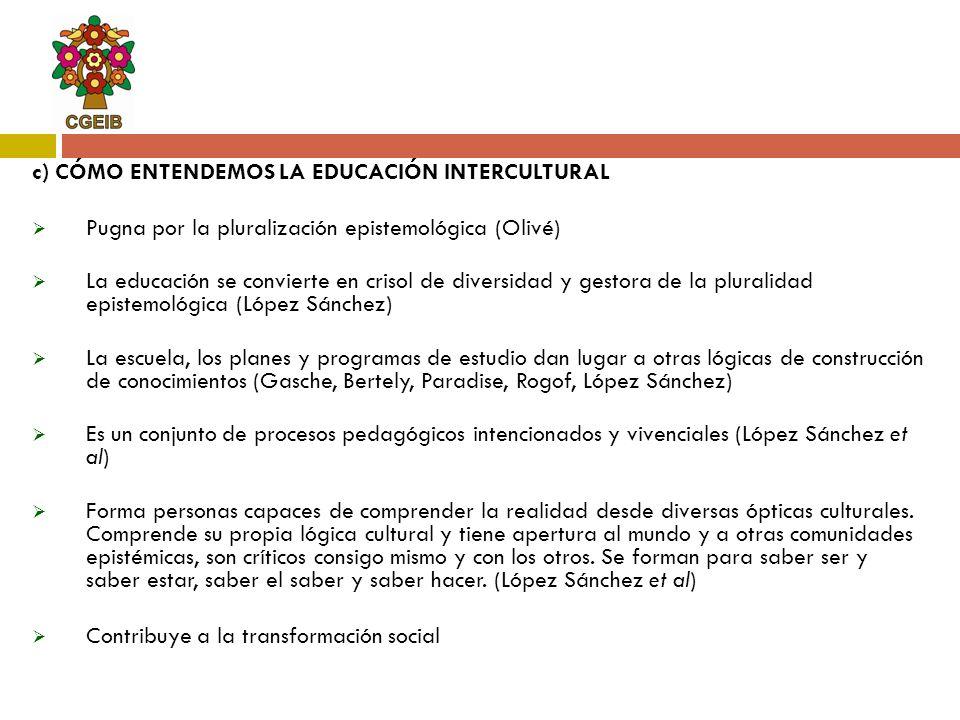 c) CÓMO ENTENDEMOS LA EDUCACIÓN INTERCULTURAL
