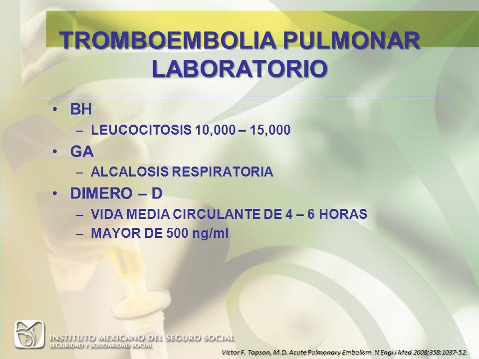 TROMBOEMBOLIA PULMONAR LABORATORIO
