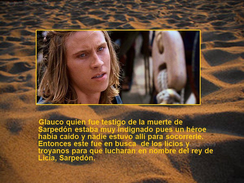 Glauco quien fue testigo de la muerte de Sarpedón estaba muy indignado pues un héroe había caído y nadie estuvo allí para socorrerle.