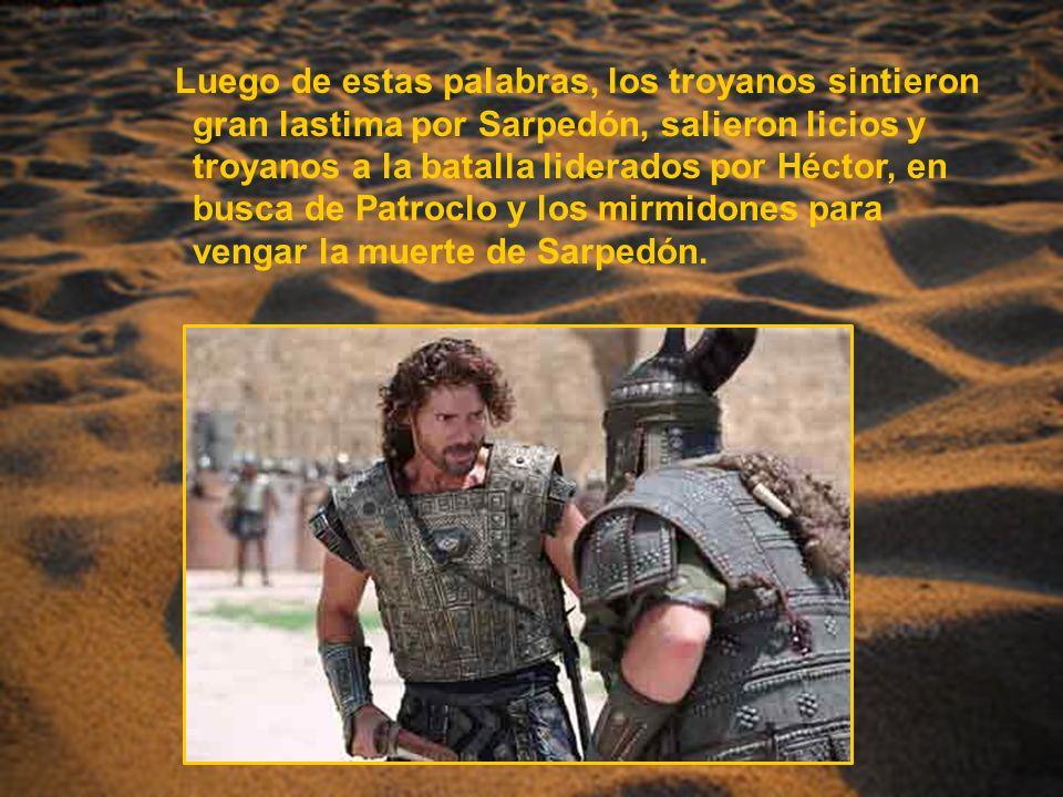 Luego de estas palabras, los troyanos sintieron gran lastima por Sarpedón, salieron licios y troyanos a la batalla liderados por Héctor, en busca de Patroclo y los mirmidones para vengar la muerte de Sarpedón.