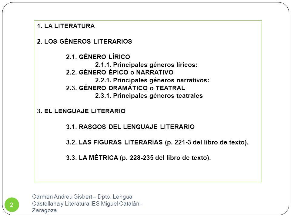 2. LOS GÉNEROS LITERARIOS 2.1. GÉNERO LÍRICO