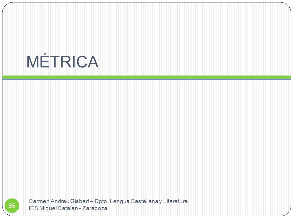 MÉTRICA Carmen Andreu Gisbert – Dpto. Lengua Castellana y Literatura IES Miguel Catalán - Zaragoza