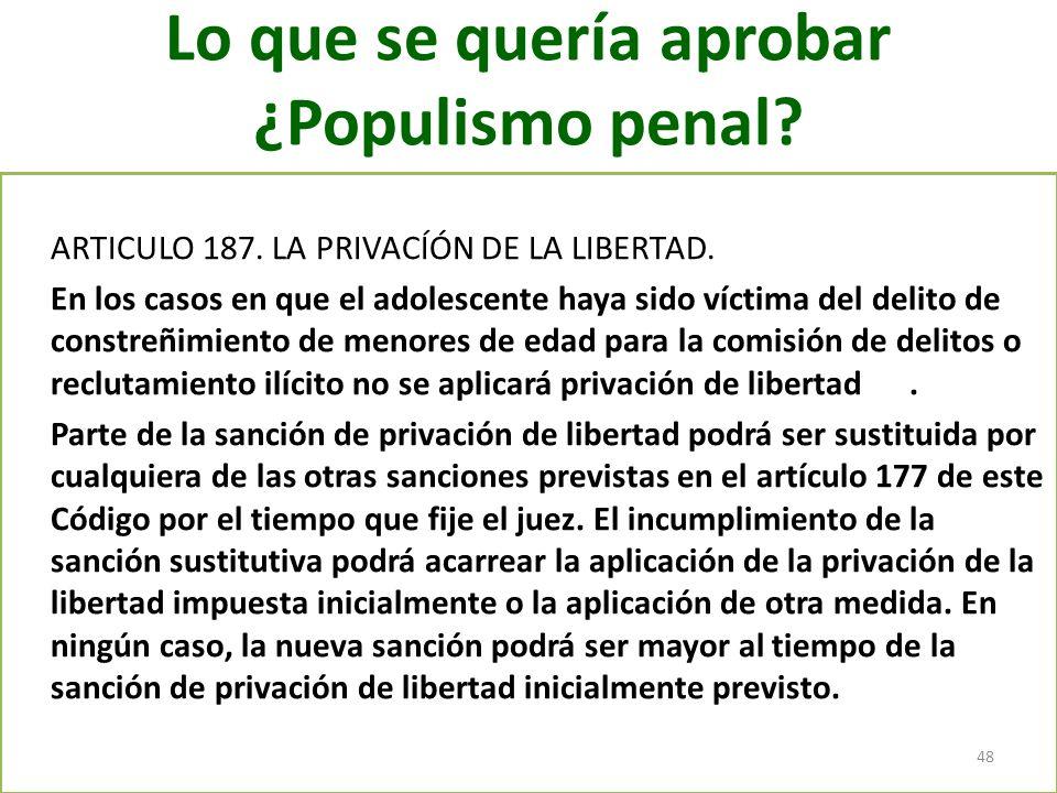 Lo que se quería aprobar ¿Populismo penal