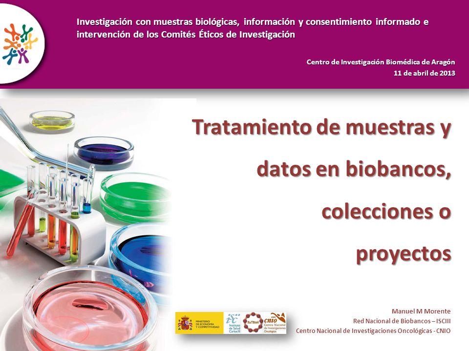 Tratamiento de muestras y datos en biobancos, colecciones o proyectos