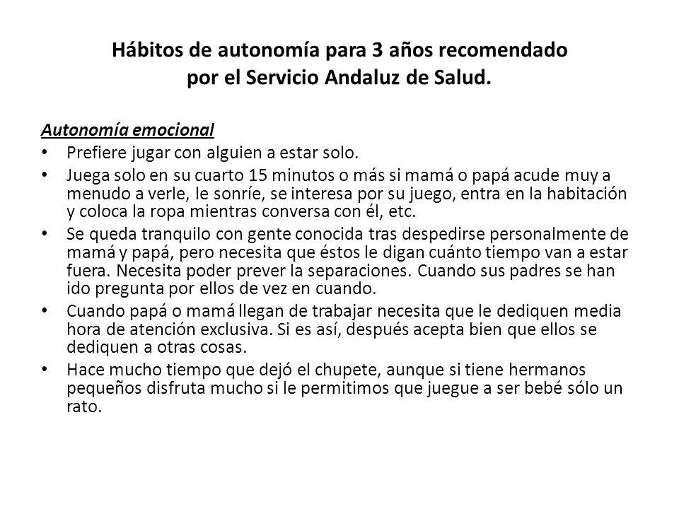 Hábitos de autonomía para 3 años recomendado por el Servicio Andaluz de Salud.