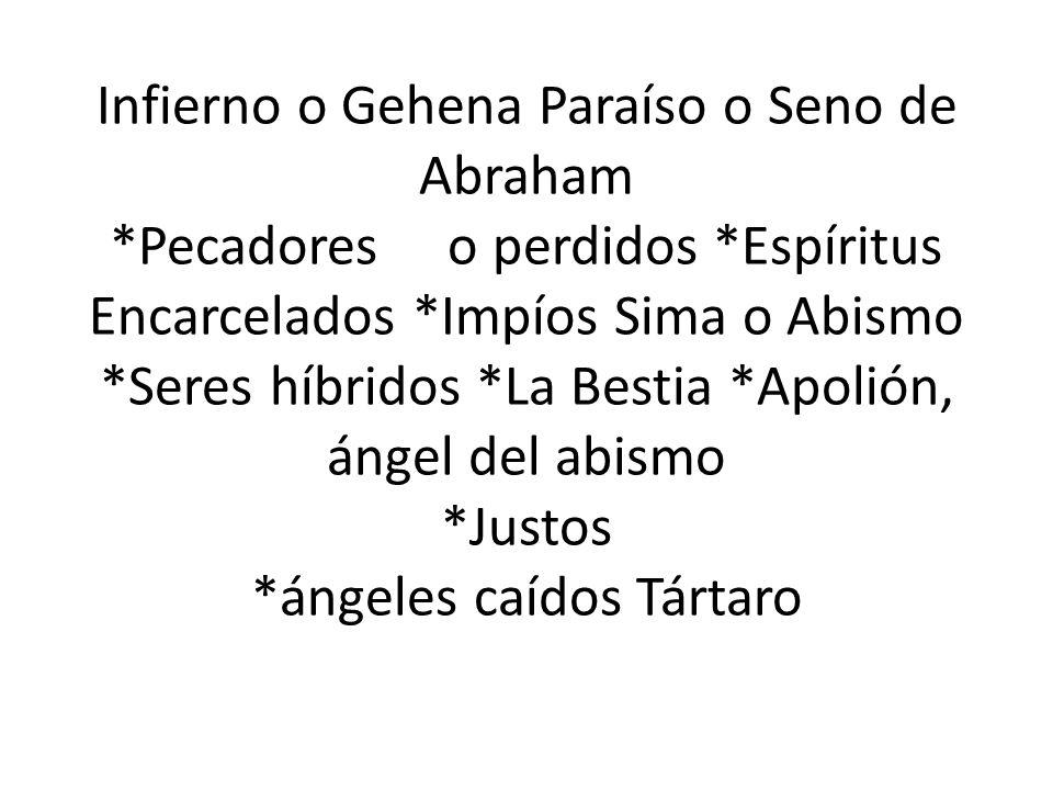 Infierno o Gehena Paraíso o Seno de Abraham. Pecadores o perdidos
