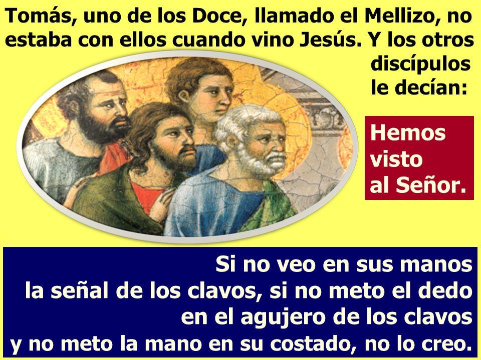 Tomás, uno de los Doce, llamado el Mellizo, no estaba con ellos cuando vino Jesús. Y los otros discípulos le decían: