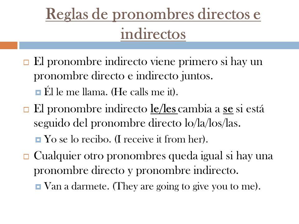 Reglas de pronombres directos e indirectos
