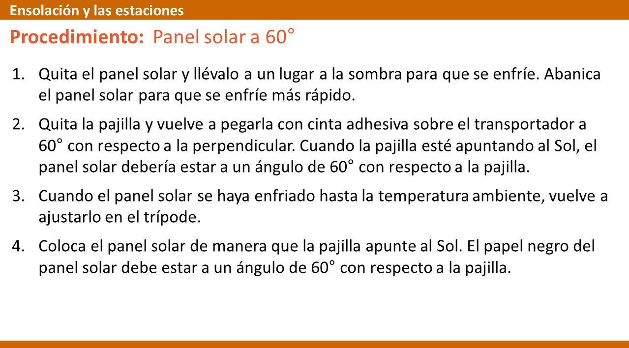 Procedimiento: Panel solar a 60°