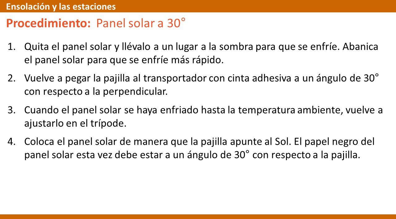 Procedimiento: Panel solar a 30°