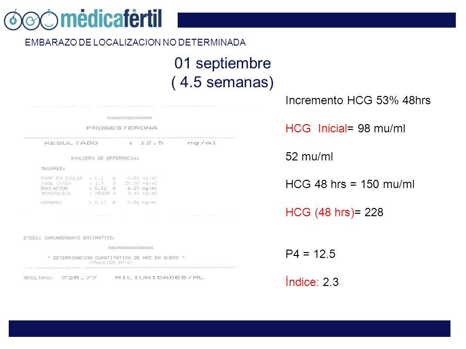 01 septiembre ( 4.5 semanas) Incremento HCG 53% 48hrs