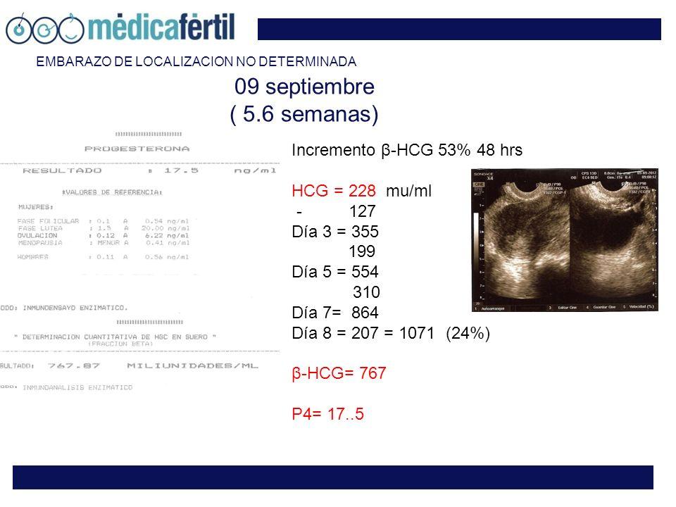 09 septiembre ( 5.6 semanas) Incremento β-HCG 53% 48 hrs