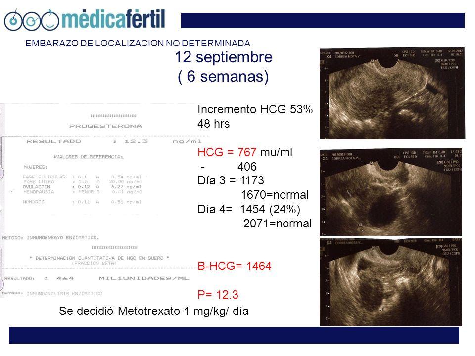 12 septiembre ( 6 semanas) Incremento HCG 53% 48 hrs HCG = 767 mu/ml