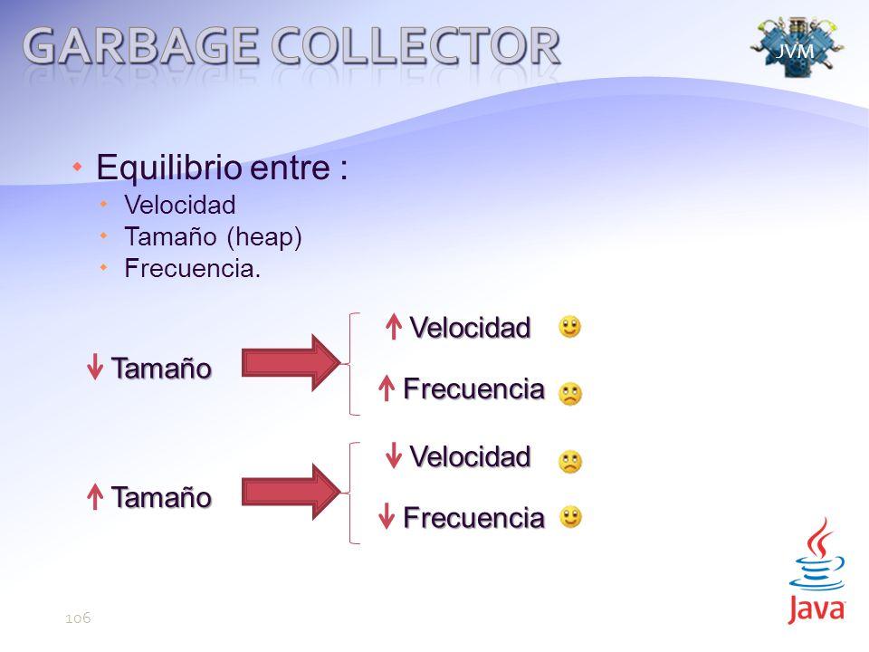 Garbage Collector Equilibrio entre : Velocidad Tamaño Frecuencia