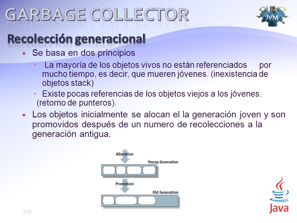 Garbage Collector Recolección generacional Se basa en dos principios