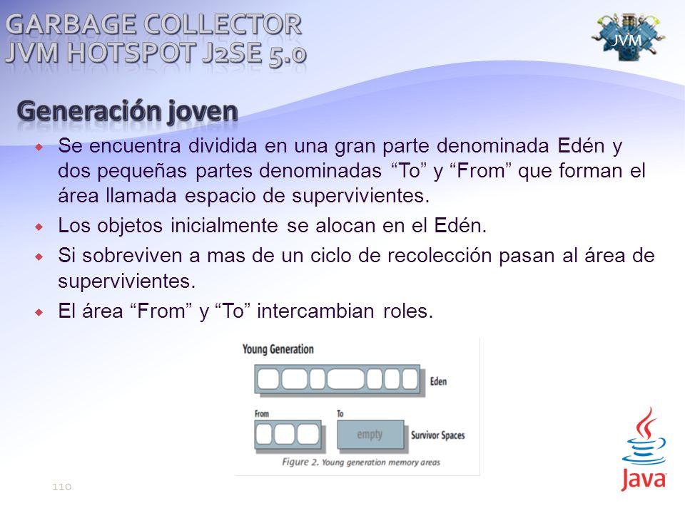 Generación joven Garbage Collector JVM Hotspot j2se 5.0