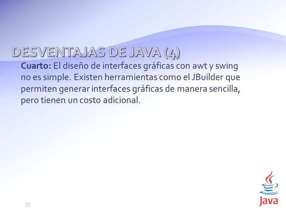 Desventajas de Java (4)