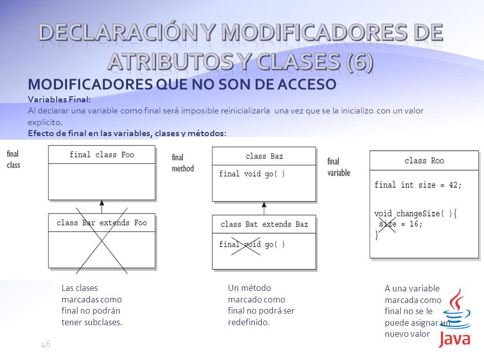 Declaración y modificadores de atributos y clases (6)