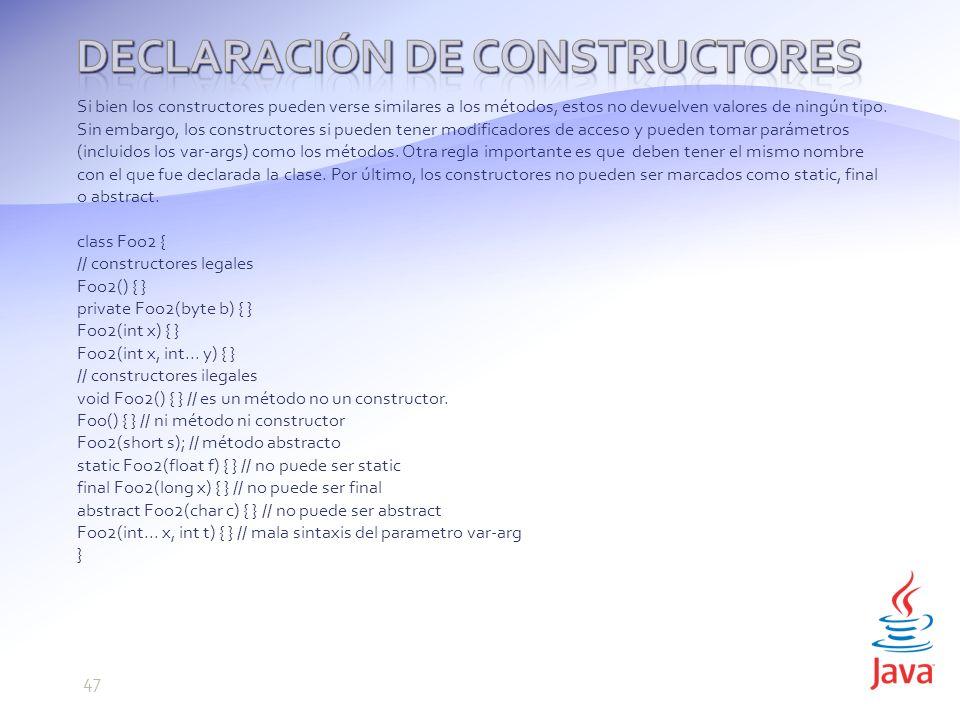 Declaración de constructores