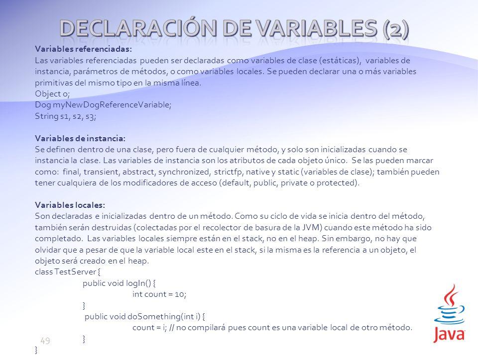 Declaración de variables (2)