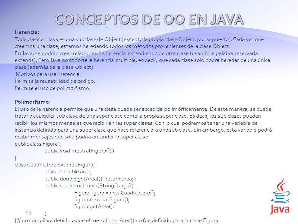 Conceptos de OO en Java Herencia: